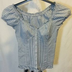 Guess Hermosa Blue Linen Striped Crop Top
